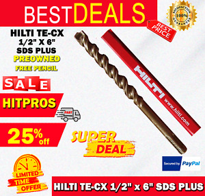 Hilti Te cx 1 2 X 6 Sds Plus Preowned free Hilti Pencil l k Fast Shipping