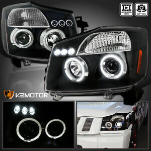 Led Halo Projector Headlights Black For 2004 2015 Nissan Titan 2004 2007 Armada