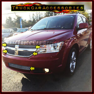 For Dodge Journey 2009 2010 5pc Polished Grille Overlay Combo 4pc Upper Bumper