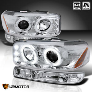1999 2006 Gmc Sierra Yukon Xl Halo Projector Headlights Parking Bumper Lamps