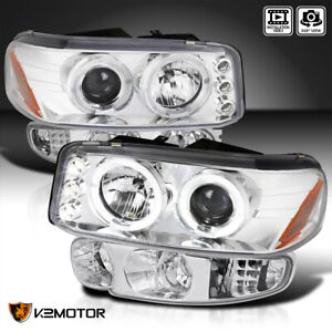 Fit 2000 2006 Gmc Sierra Yukon Denali Halo Projector Headlights signal Lamps