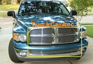 For Dodge Ram 1500 2500 3500 Reg 2002 2005 Polished Grille Combo 4pc Upper 1pc