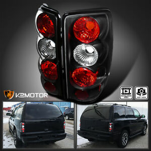 For 2000 2006 Chevy Gmc Suburban Tahoe Yukon Tail Brake Lights Black Pair