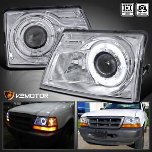 Fit 1998 2000 Ford Ranger Halo Angel Eye Projector Headlight Head Lamps Pair