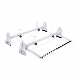 2 Bar Van Ladder Roof Rack Heavy Duty 700lbs Steel W Rear Cargo Roller White