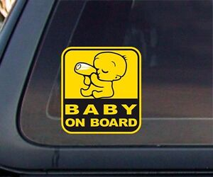Baby On Board Yellow Graphic Car Sticker Decal