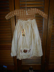 Primitive Wall Decor Dress Plaid W Apron Turkey Thanksgiving Autumn Fall Grungy