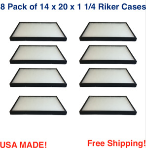 8 Pack Of Riker Display Cases 14 X 20 X 1 1 4 For Collectibles Arrowheads