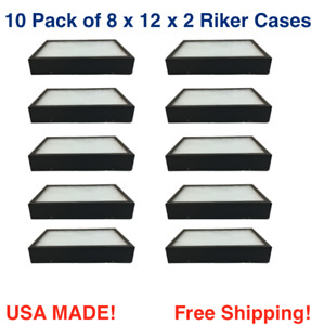 10 Pack Of Riker Display Cases 8 X 12 X 2 For Collectibles Arrowheads