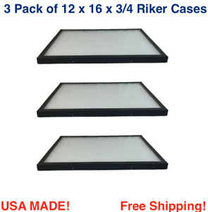 3 Pack Of 12 X 16 X 3 4 Riker Display Cases Boxes For Collectibles Jewelry