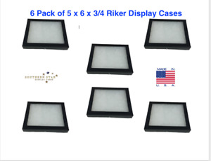 6 Pack Of 5 X 6 X 3 4 Riker Display Cases Boxes For Collectibles And Arrowheads