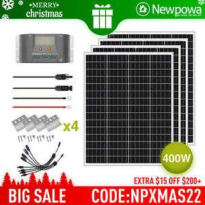 Newpowa 400w Watt 12v Monocrystalline Solar Panel Charging Kit System Off Grid