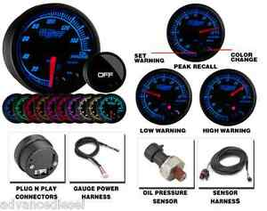 Glowshift Elite Ten Color Oil Pressure Gauge Gs et04