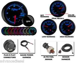 Glowshift Elite Ten Color 30 Psi Fuel Pressure Gauge Gs Et1130