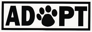 Adopt Dog Cat Animal Rescue Adoption Paw Print Vinyl Decal Car Bumper Sticker