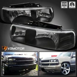 Black For 1999 2002 Chevy Silverado Headlights Head Lamps Left right Pair 99 02