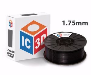 Ic3d 1 75mm 2 2lb 1kg Black Abs 3d Printer Filament Made In Usa