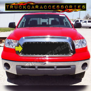 For Toyota Tundra 2007 2008 2009 Upper Main 1pc Overlay Grille Silver Rivets