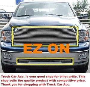 For Dodge Ram 1500 2009 10 11 2012 2pc Polished Replacement Billet Grille Combo