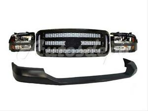 05 07 Ford Super Duty Harley Davidson Front Bumper Up Pad Grille Blk Headlight 4
