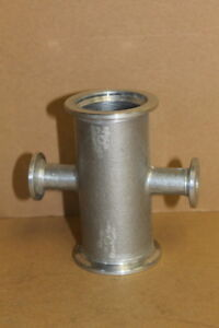 Vacuum Reducer Cross 4 Way Kf40 To Kf10 Aluminum