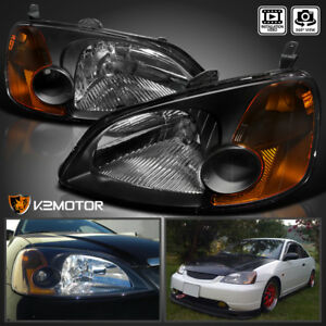 For 2001 2003 Honda Civic 2 4dr Coupe Sedan Headlights Jdm Black