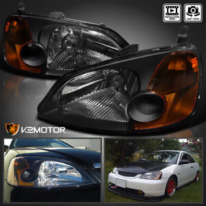 For 2001 2003 Honda Civic 2 4dr Coupe Sedan Headlights Jdm Black Left Right
