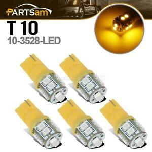 5pcs 10 3528 smd Amber yellow T10 Led Bulbs For Clearance Cab Roof Running Light
