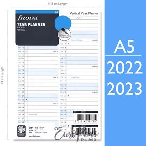 Filofax A5 Vertical Year Diary Planner Refill Choose Year 2021 2022 2020