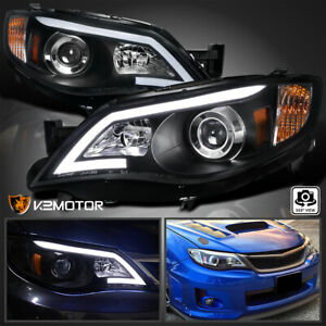 For 2008 2011 Subaru Impreza Wrx Outback Led Drl Black Projector Headlights Lamp