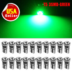 20x Green Wedge T5 3 smd Led Bulbs Dash Instrument Gauge Speedometer Light 74 17