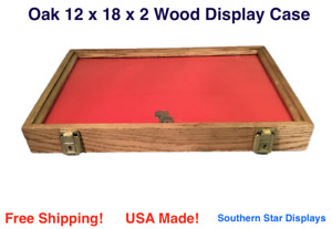 Oak Wood Display Case 12 X 18 X 2 For Arrowheads Knifes Collectibles More