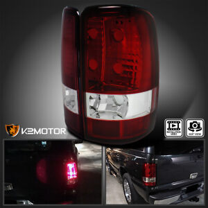 2000 2006 Chevy Gmc Suburban Yukon Xl Red Clear Tail Lights Rear Lamps Pair