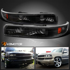 99 02 Chevy Silverado Tahoe Suburban Signal Bumper Parking Lights Black