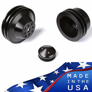 Black Aluminum Big Block Chevy Pulley Kit 2 Groove 427 454 Lwp Bbc Crank
