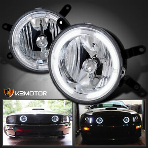 2005 2009 Ford Mustang Gt Hood Grille Clear Halo Fog Lamps Driving Lights Pair