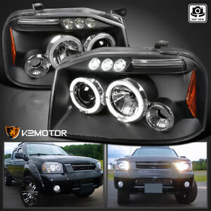 For 2001 2004 Nissan Frontier Led Strip Halo Projector Headlights Pair Black Set