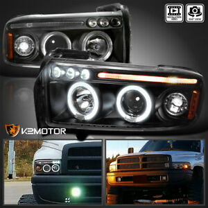 For 1994 2001 Dodge Ram 1500 2500 3500 Led Halo Projector Headlights Black Pair