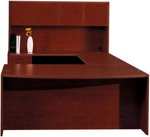 New Amber Bowfront U shape Executive Office Desk With Hutch 1 Pedestal