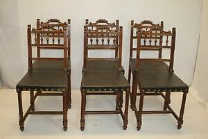 French Renaissance Antique 6 Walnut Carved Dining Chairs W Original Leather 1890
