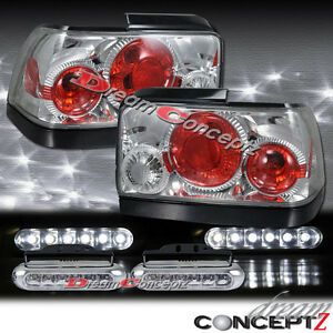 For 1993 1997 Toyota Corolla Tail Lights Chrome Led Daytime Running Light Pair