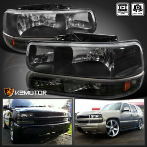 00 06 Chevy Tahoe Suburban 99 02 Silverado Headlights Bumper Lights Black 4pc