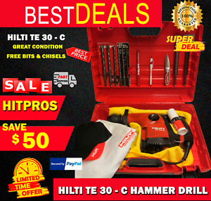 Hilti Te 30 c Hammer Drill Great Condition Free Bits Chisels Fast Ship