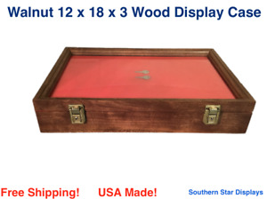 Walnut Wood Display Case 12 X 18 X 3 For Arrowheads Knifes Collectibles More