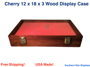Cherry Wood Display Case 12 X 18 X 3 For Arrowheads Knifes Collectibles