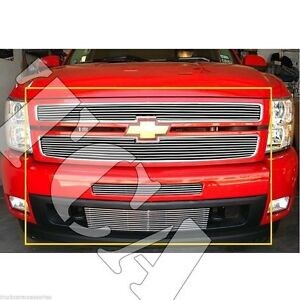 For Chevy Silverado 1500 2007 2011 Polish Grille Overlay Combo Upper air bumper