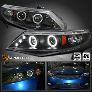 For 2006 2011 Honda Civic 4dr Sedan Led Halo Projector Headlights Black Lamps