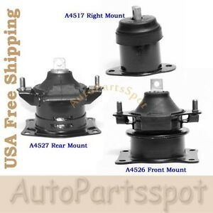 For 03 05 Acura Tl 3 0l Engine Motor Mount Set 3pcs Auto Transmission