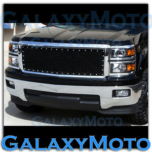 14 15 Chevy Silverado Chrome Black Replacement Rivet Studded Mesh Grille Shell
