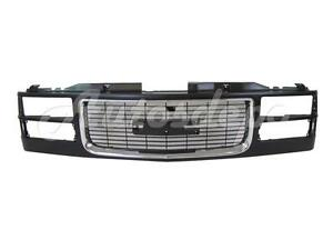 For 1994 2002 Gmc Pickup Old Style 94 99 Yukon Grille Black With Chrome Molding